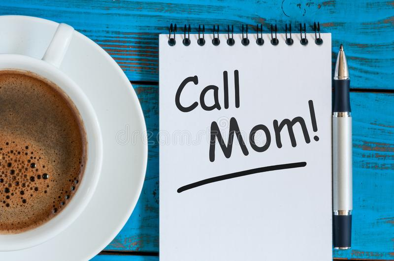 Call Mom - A message asking or reminding you to call your mom. Parenting Concept.  royalty free stock photo