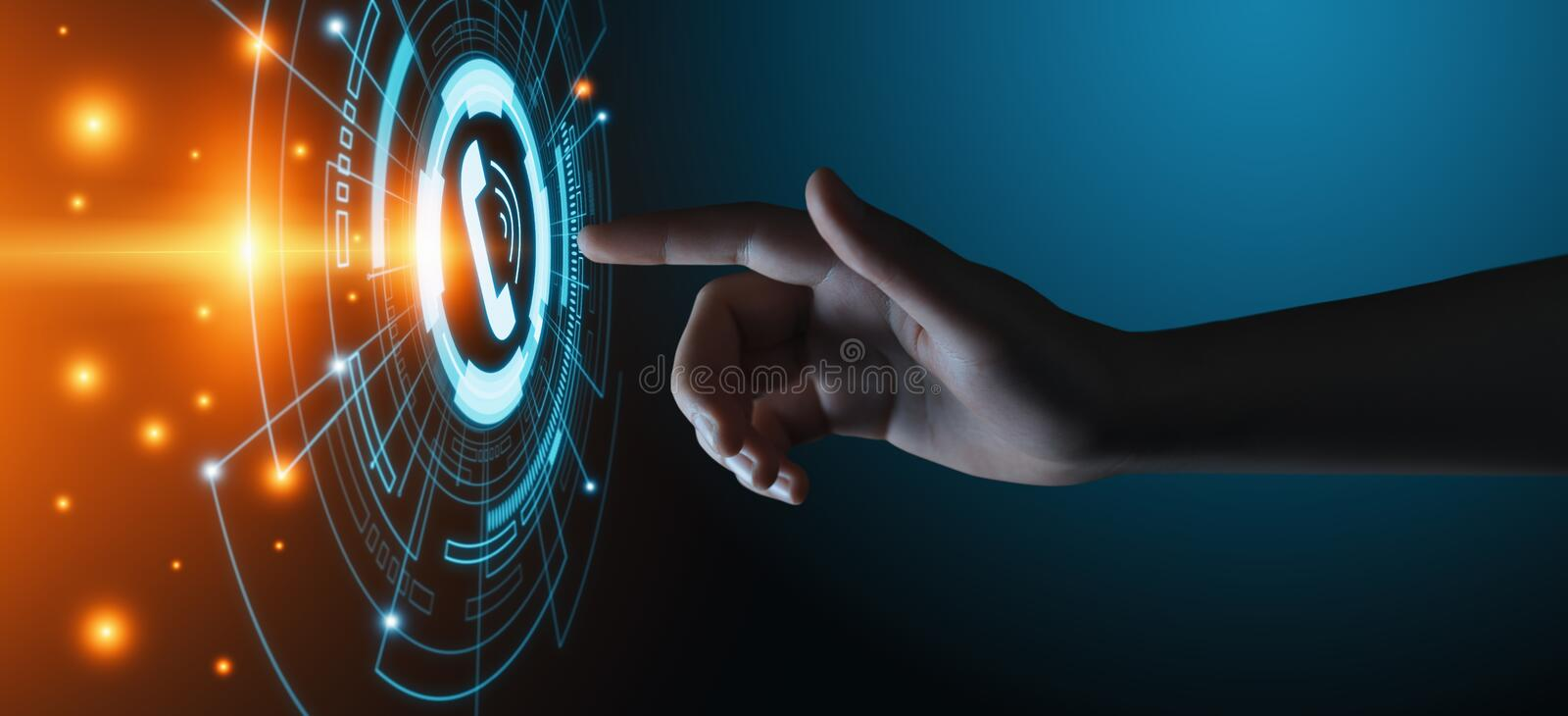Call Now Business Communication Support Center Customer Service Technology Concept.  stock photo