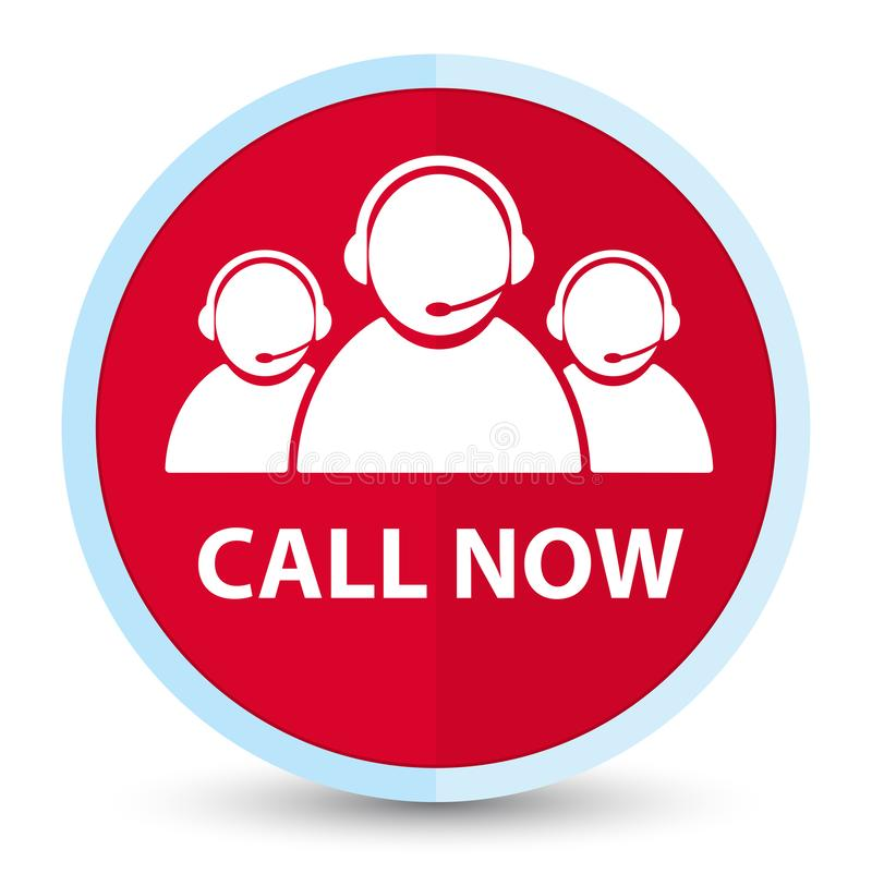 Call now (customer care team icon) flat prime red round button. Call now (customer care team icon) isolated on flat prime red round button abstract illustration royalty free illustration