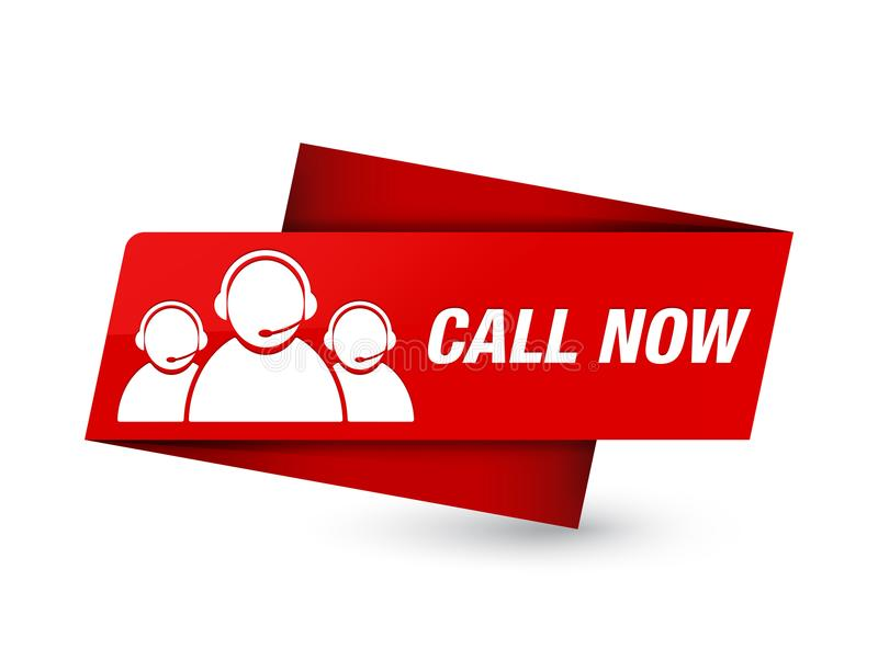 Call now (customer care team icon) premium red tag sign vector illustration