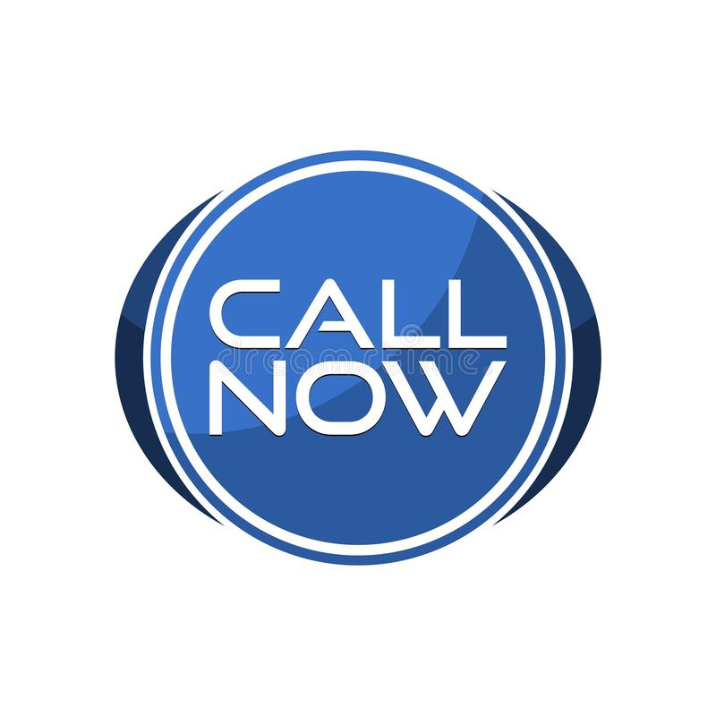 Call Now Round Button, simple sign or logo royalty free illustration