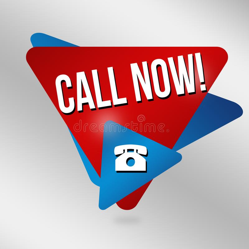 Call now sign or label royalty free illustration