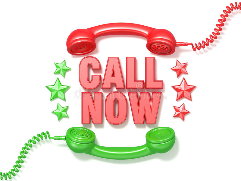 Call now sign. Retro red and green phone receivers and stars cir vector illustration