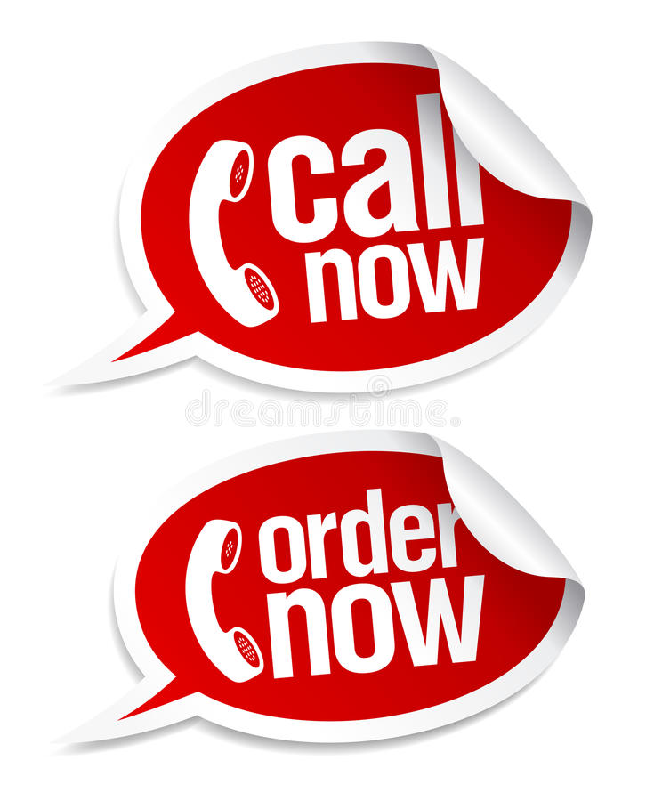 Call now stickers. royalty free illustration