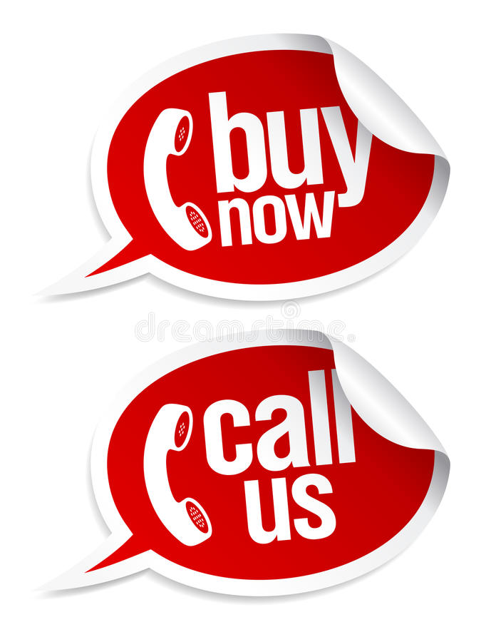 Call now stickers. stock illustration