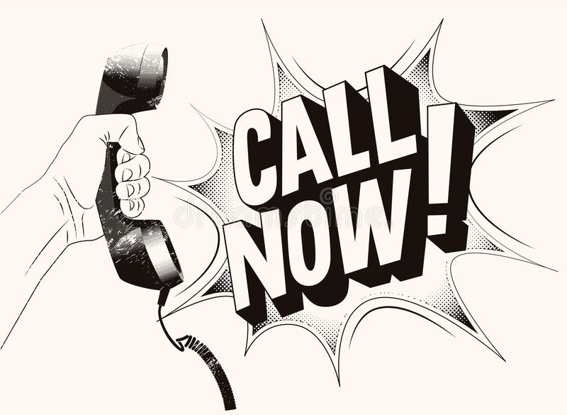 Call Now! Typographic retro grunge poster. Hand holds a telephone receiver. Vector illustration. royalty free illustration
