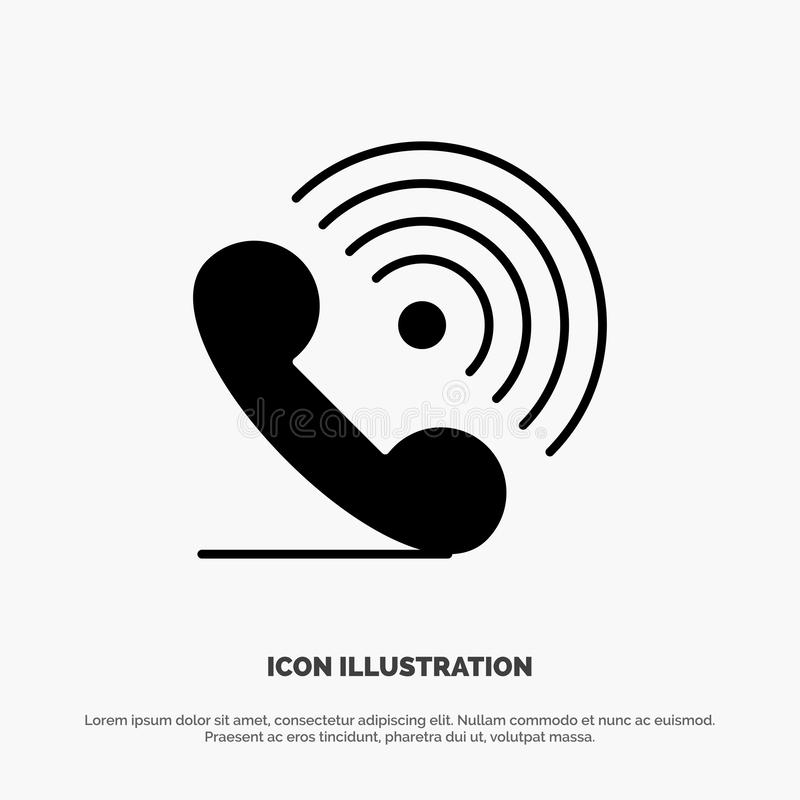 Call, Phone, Receiver, Ring, Signals solid Glyph Icon vector stock illustration