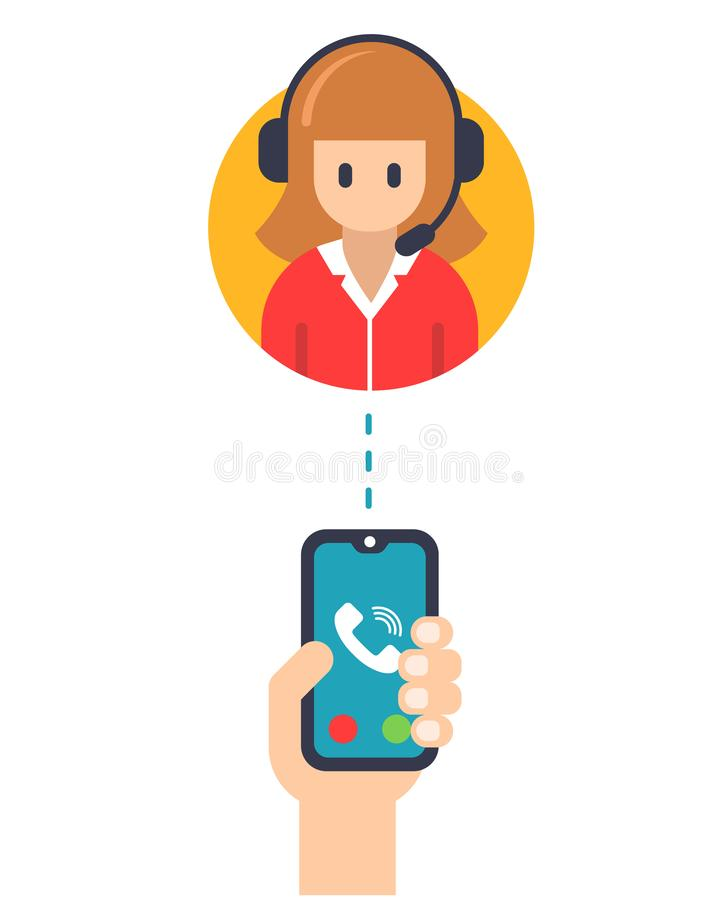 Call service manager from a mobile phone. vector illustration