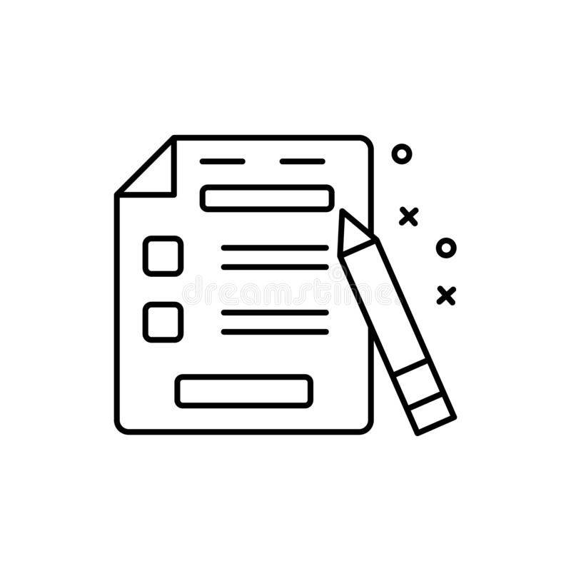 Call sheet, pen, cinema icon. Element of film Industry icon. On white background royalty free illustration