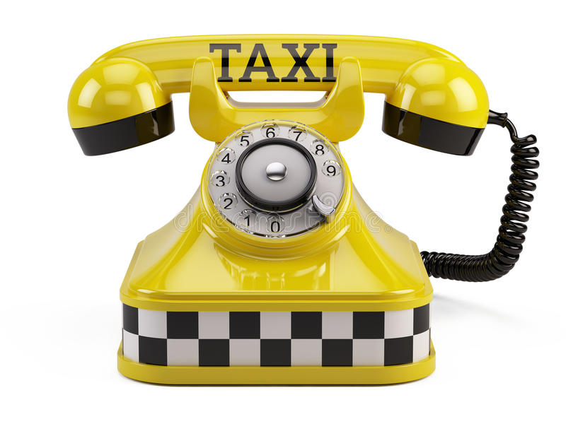 Call a taxi service concept. Yellow retro taxi phone on white royalty free illustration