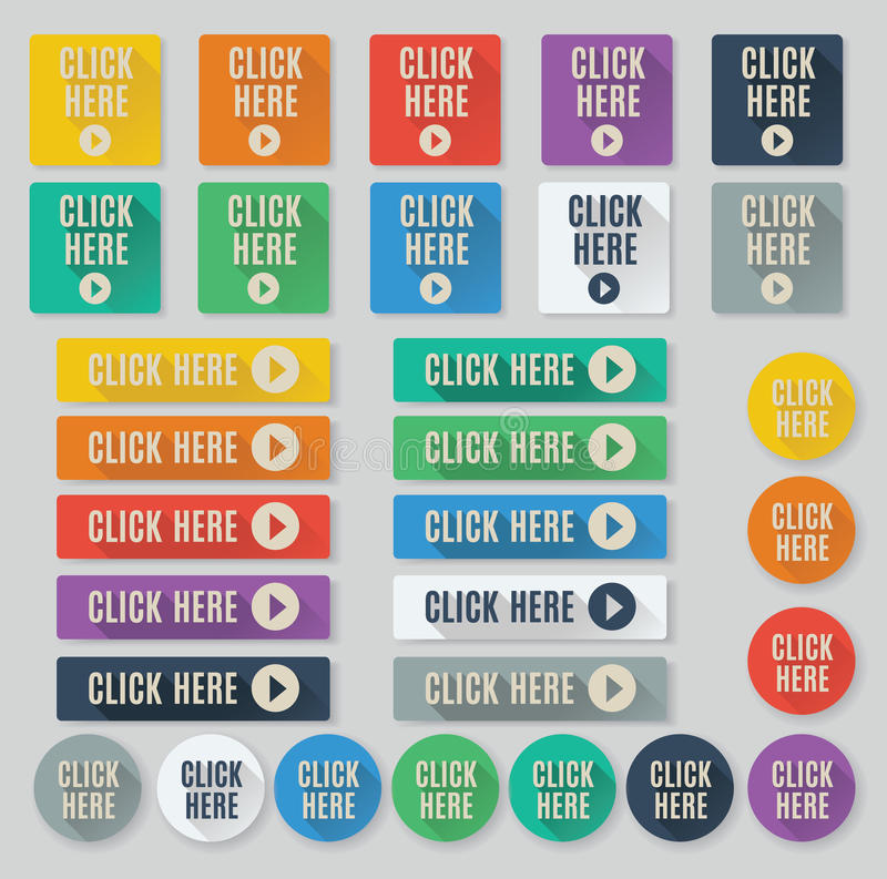 Call to action Click Here buttons. Set of flat web buttons with call to action text. Click here buttons feature popular color palette for flat UI designs and vector illustration