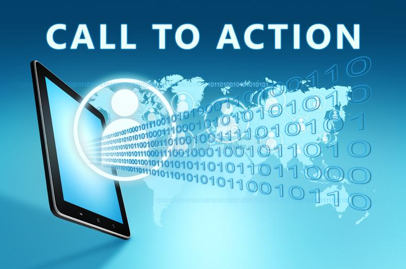 Call to action. Text with social icons and tablet computer on blue digital world map background. 3D Render Illustration, business, success, sign, conceptual stock illustration