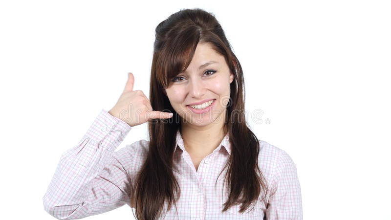 Call Us, Contact Us, Gesture by Young Girl stock image