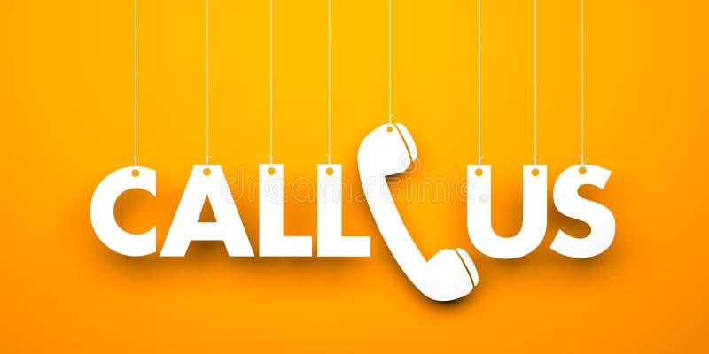 CALL US - Word Hanging On Orange Background Stock Illustration -  Illustration of assistance, communication: 80813917