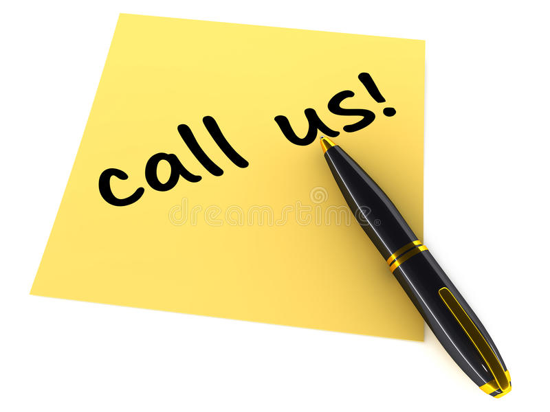 Call us. Words on a paper with pen lying around on white background, customer service concept of encouraging customers to make contact with support stock illustration