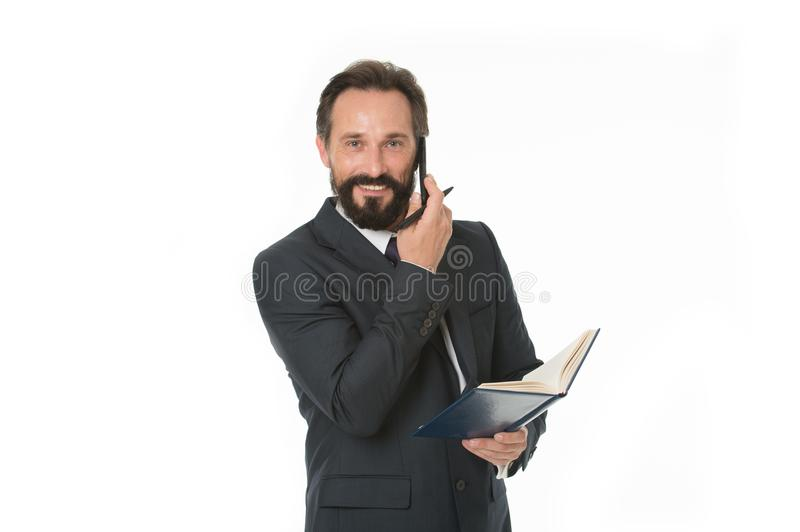 Before call write down information must convey and anything need ask client. Businessman calling client hold notepad stock images