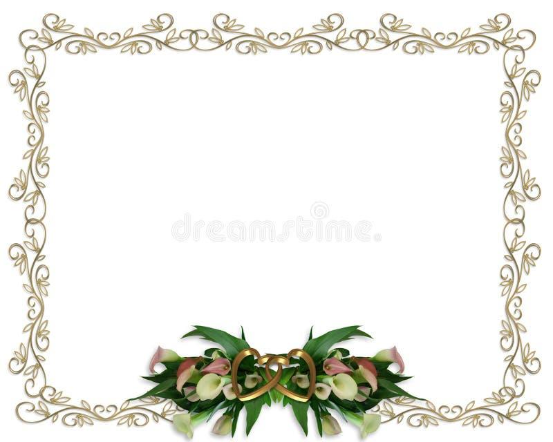 calla συνόρων floral γάμος κρίνων πρόσκλησης ελεύθερη απεικόνιση δικαιώματος