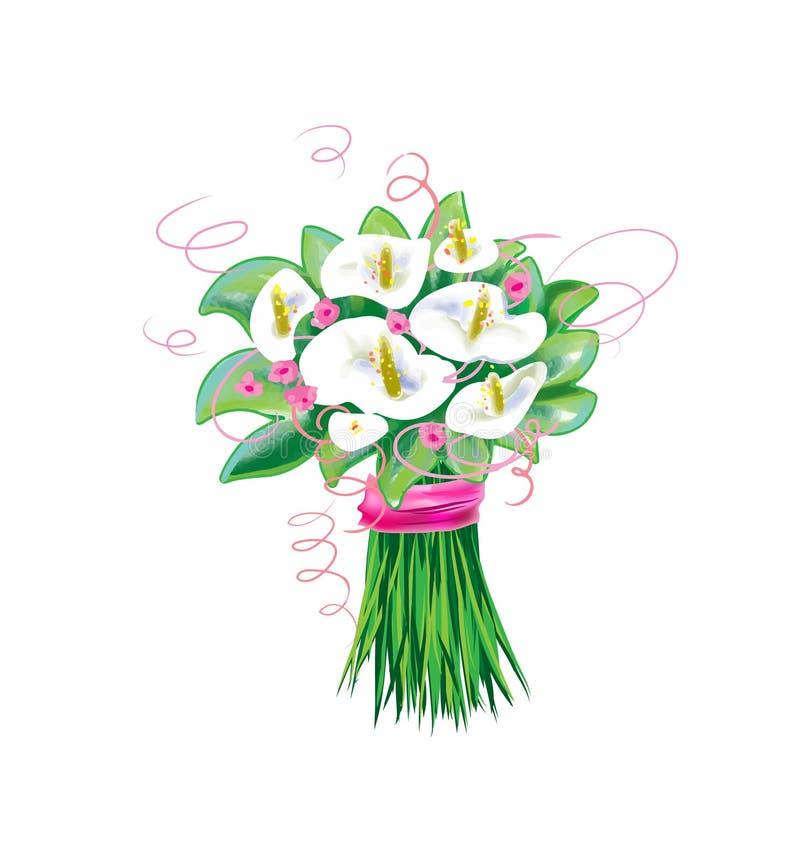 Calla bloemen, bruids boekethuwelijk royalty-vrije illustratie