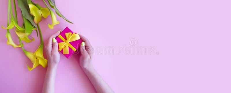 Calla femminile del fiore del contenitore di regalo del manicure delle mani sul fondo di colore fotografia stock libera da diritti