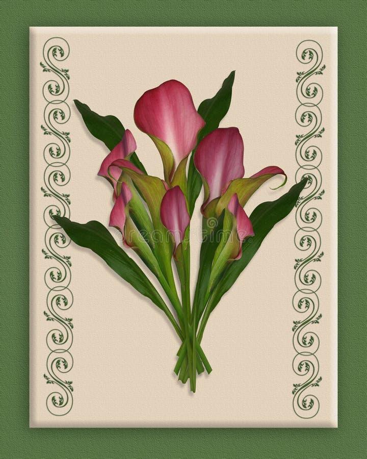 Calla-Lilien-Blumenstrauß auf Segeltuch   lizenzfreie abbildung