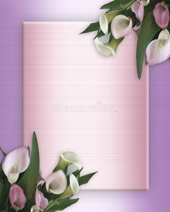Calla-Lilien-Rand auf rosafarbenem Satin vektor abbildung