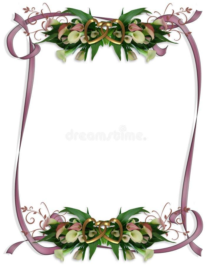 Calla Lilies Border Wedding Invitation Stock Photos
