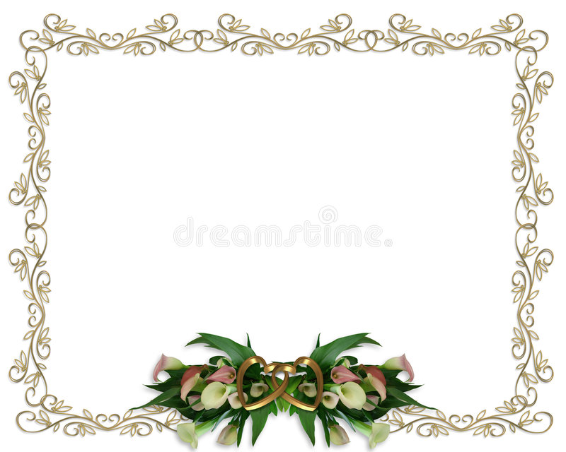Calla Lilies Floral Border Wedding Invitation Stock Illustration ...