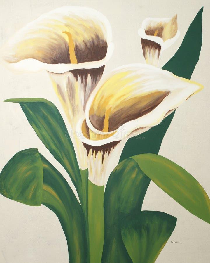 Calla Lilies Painting stock illustration