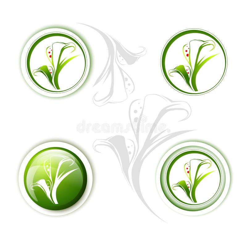 Calla Lily Flower Icon Set stock illustrationer