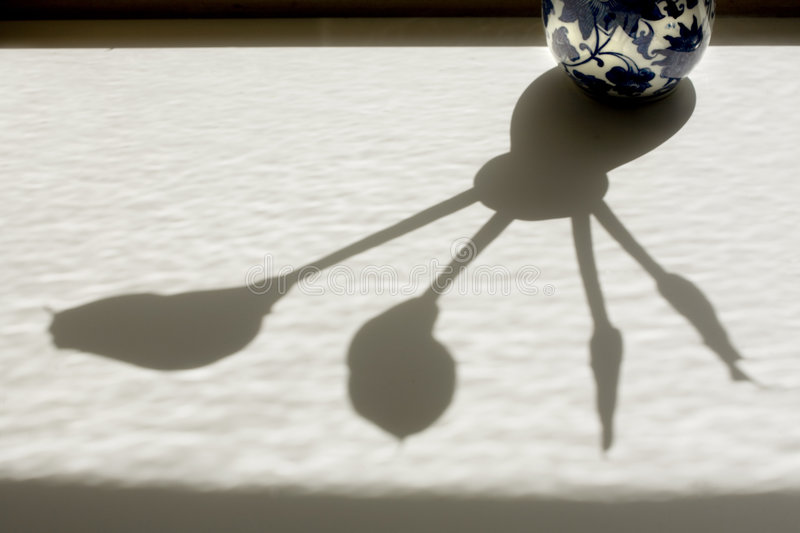 Calla lily shadows and vase stock images