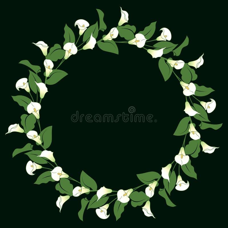 Calla lily wreath vector illustration