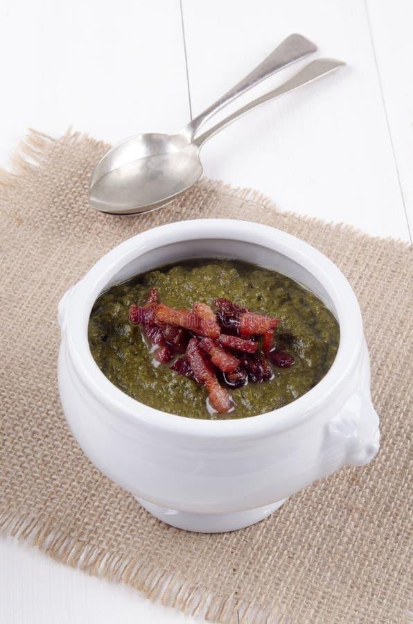Callaloo soppa med grillade baconbitar royaltyfria foton