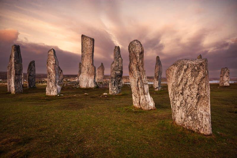 Callanish bevindende stenen in Schotland stock foto's