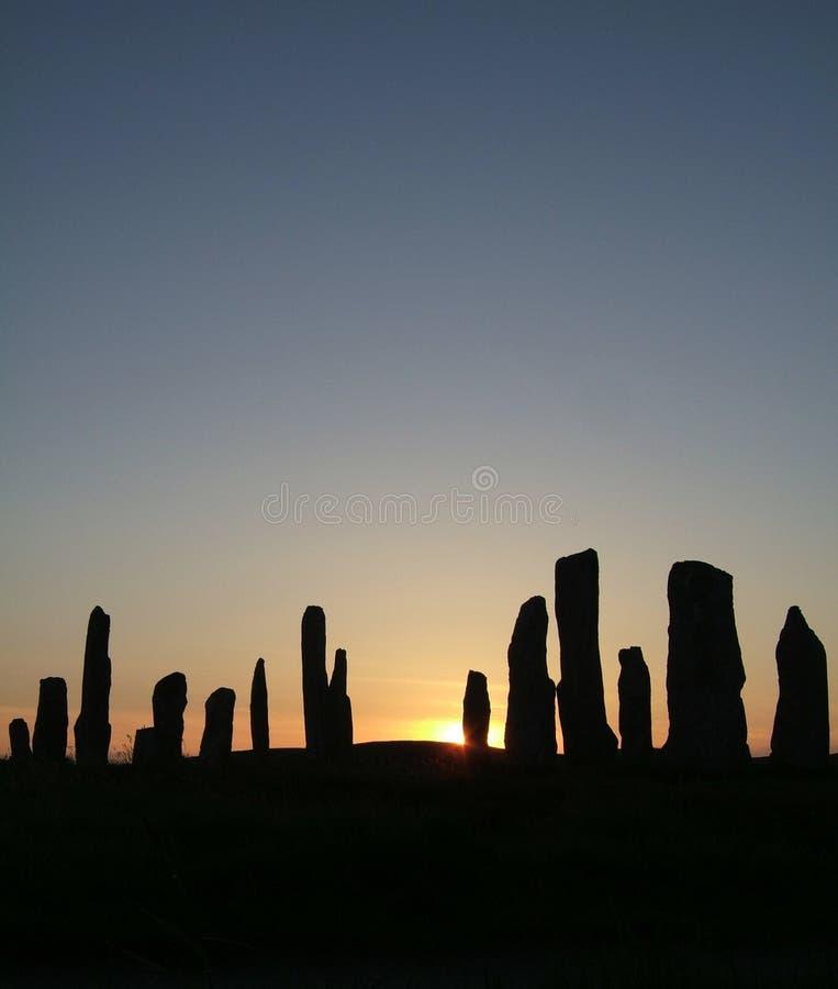 Callanish en la puesta del sol imagen de archivo