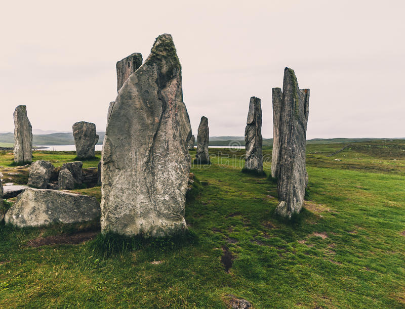 Callanish Stones. Isle of Lewis, Scotland - July 26,2014: Neolithic standing stones at Callanish (Calanais) on the Isle of Lewis in Scotlan royalty free stock photos