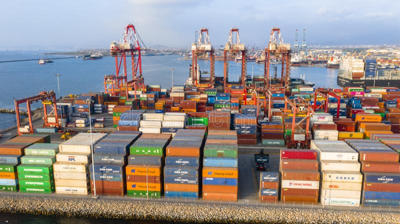 Callao, Lima / Peru - October 13 2019: View of dock and containers in the port of Callao. Callao port, container loading and unloading area ship stock photo