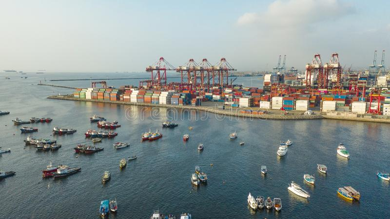 Callao, Lima / Peru - October 13 2019: View of dock and containers in the port of Callao. Callao port, container loading and unloading area ship stock images