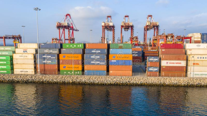 Callao, Lima / Peru - October 13 2019: View of dock and containers in the port of Callao. Callao port, container loading and unloading area ship royalty free stock photos