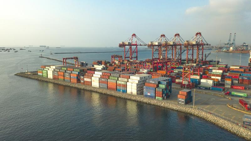 Callao, Lima / Peru - October 13 2019: View of dock and containers in the port of Callao. Callao port, container loading and unloading area ship stock photos