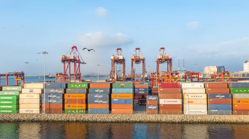 Callao, Lima / Peru - October 13 2019: View of dock and containers in the port of Callao. Callao port, container loading and unloading area ship royalty free stock photo