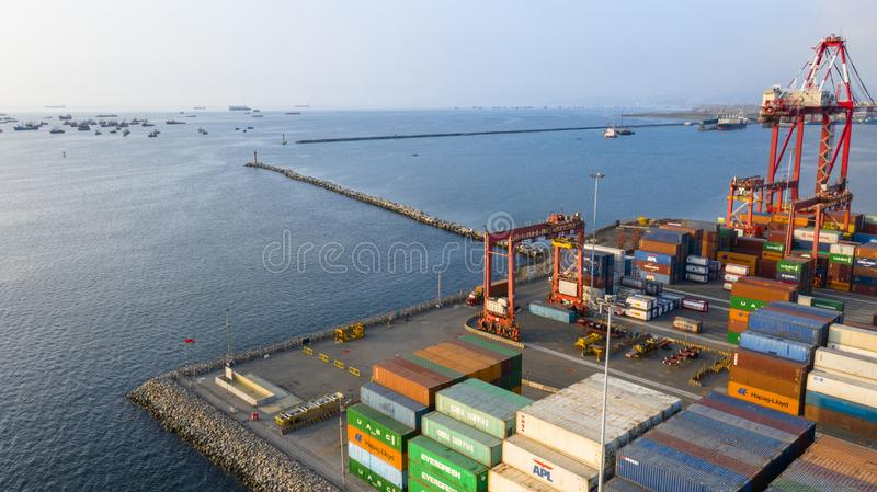 Callao, Lima / Peru - October 13 2019: View of dock and containers in the port of Callao. Callao port, container loading and unloading area ship royalty free stock images