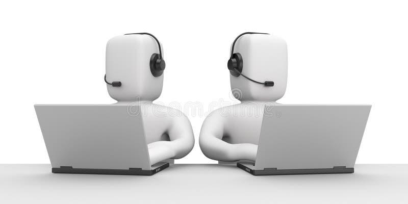 Callcenter. Communication concept. Isolated on white stock illustration