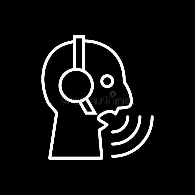Callcenter operatora wektoru ikona Wektorowy ilustracyjny mieszkanie styl na czarnym tle Konturu projekt 10 eps ilustracja wektor