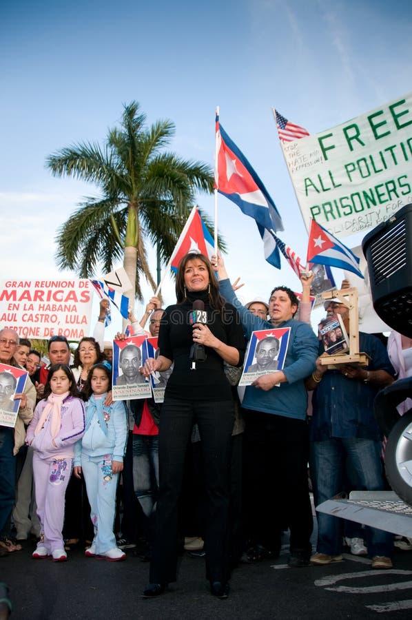 Calle 8迈阿密抗议 免版税库存照片