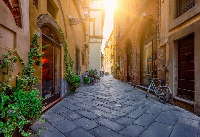 Calle acogedora vieja estrecha en Lucca fotos de archivo