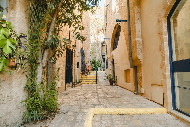 Calle antigua en Tel Aviv Jaffo Vieja arquitectura urbana de Jaffa foto de archivo libre de regalías