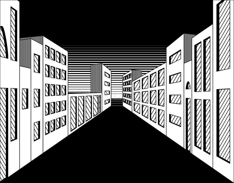 Calle blanco y negro de la ciudad de la noche stock de ilustración