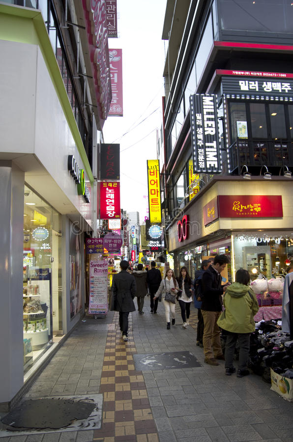 Calle Busán Corea de las compras foto de archivo libre de regalías