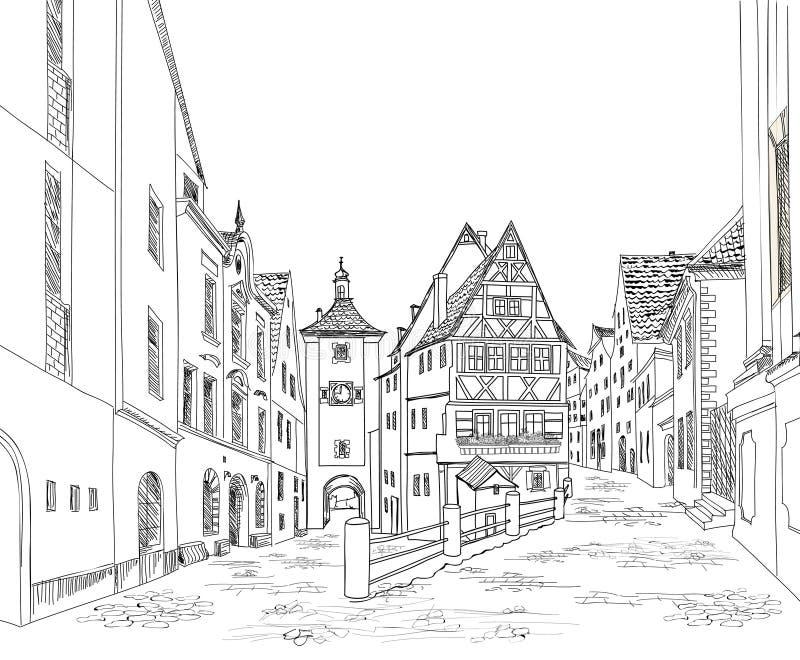 Calle con los edificios viejos y café en ciudad vieja Vieja opinión de la ciudad ilustración del vector