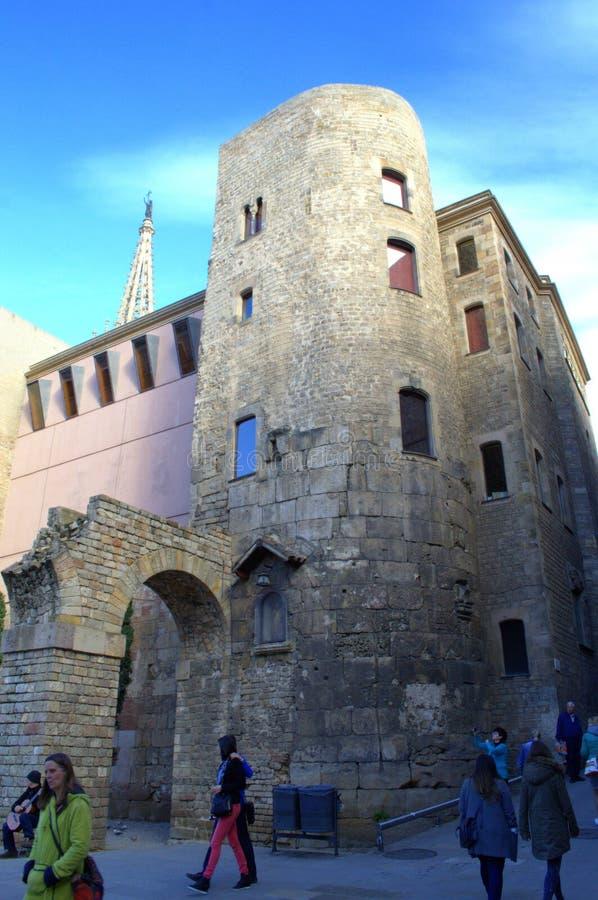 Calle cuarta gótica, Barcelona imágenes de archivo libres de regalías